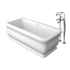 """Transolid Canova Royal 71""""x33.5""""x25.6"""" Freestanding Tub and Faucet Kit, White"""