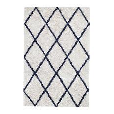 Anji Mountain Ivory Silky Shag Area Rug With Navy Diamond, Rectangular 9'x12'