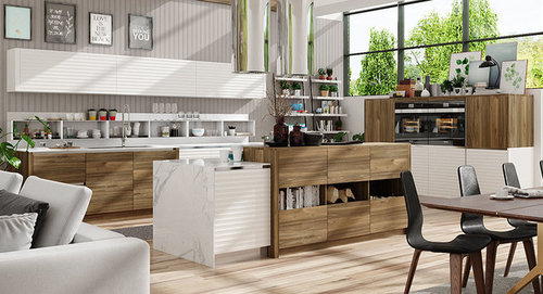 Wood Grain Melamine and White PVC Kitchen Units OP17-PVC09