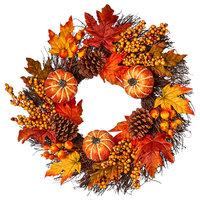 """Pumpkin Cone, Berry Leaf Wreath, 24"""""""