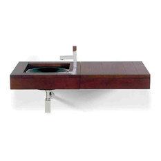 Antonio Miro Large Iroko Wood Wall Mount Counter Top Unit With Integral Drawer