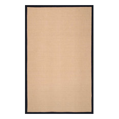 Natural Fiber Reversible Cotton Border Jute Rug, Black, 9'x12'
