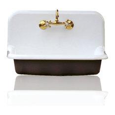 "reLA - 30"" High Back Farm Sink Cast Iron Porcelain Kitchen Sink Set Tricorn Black - Kitchen Sinks"