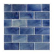 "12""x12"" Subway Series Glass Tile Mosaic, Stratus Blue"