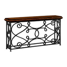 72-inch Width Rectangular Rustic Walnut Console With Wrought Iron Base