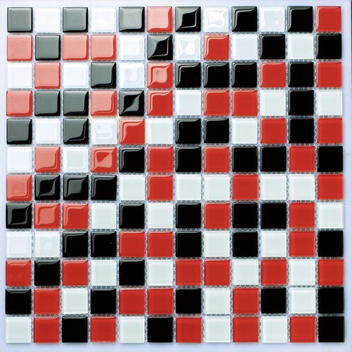 Glass white red black tile backsplash kitchen bath shower mosaic ...