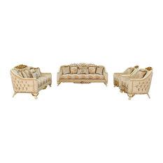 3 Piece European Furniture Angelica Sofa Set Brown Fabric