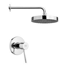 """Chrome Shower Faucet Set With 8"""" Rain Shower Head"""