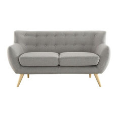 WILEY UPHOLSTERED FABRIC LOVE SEAT/LIGHT GRAY