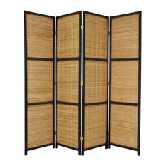 6' Tall Woven Accent Room Divider, 4 Panel, Black