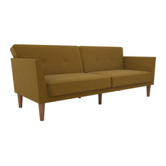 Novogratz Regal Mid-Century Sofa Bed/Futon, Mustard Yellow