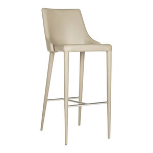 Upholstered Counter Height Stool With Footrest Light Gray