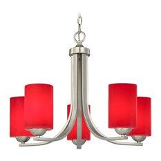 Modern 5-Light Chandelier with Red Glass in Satin Nickel