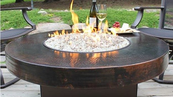 "42"" Round Oriflamme Hammered Copper Fire Table"