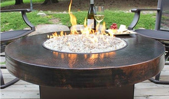 """42"""" Round Oriflamme Hammered Copper Fire Table"""
