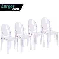 Set of 4 Larger Modern Plastic Side Chairs, Clear, Set of 4