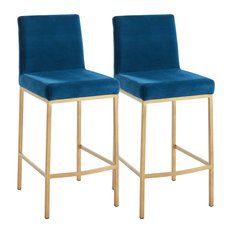 Set of 2, 26'' Counter Stool, Velvet With Gold Metal Legs, Blue