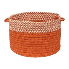 "Houndstooth Dipped Basket, Orange 14""x10"""