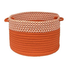 "Houndstooth Dipped Basket, Orange 14""x14""x10"""