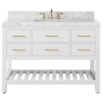 "Elizabeth Bath Vanity Set, White, 48"", Gold Hardware, Carrara White Marble"
