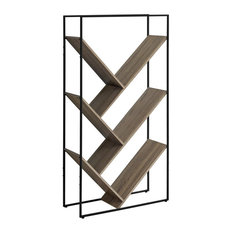 Monarch 5 Tier Metal Bookcase In Dark Taupe And Black