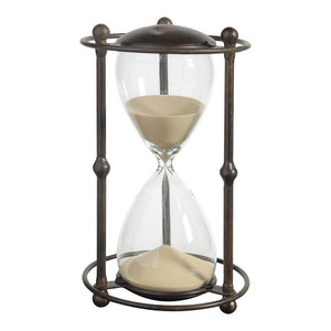 1 Hr. Hourglass Sand Timer, Stand With Tan Sand