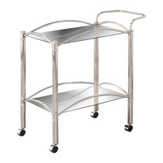 Coaster Chrome Serving Cart With Mirrored Bottom Shelf and Casters