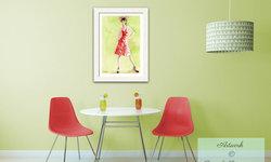 Midcentury Kitchen with Vintage Inspired Fashion Art
