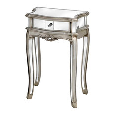 Argente Mirrored Single Drawer Lamp Table