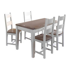 Chalked Oak and Acacia Dining Table Set, With 4 Chairs