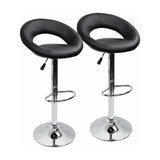 Consigned Set of 2 Bar Stools, Faux Leather, Gas Lift, Crescent Shaped