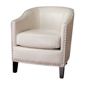 GDF Studio Carlton Tub Design Club Chair With Nailheads Accents, Ivory Leather