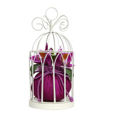 Birdcage Jewelry Hanger With Orchids-Cream, Purple