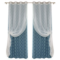 Voile Sheer and Quatrefoil Print Faux Silk Mix and Match, Lagoon