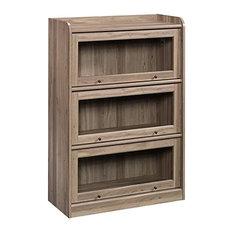 Rustic Bookcase 3 Closed Compartments Framed Tempered Glass Doors Salt Oak