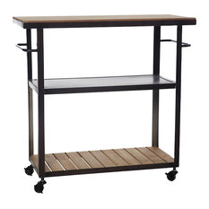 Iron and Wood Kitchen Trolley With Handles