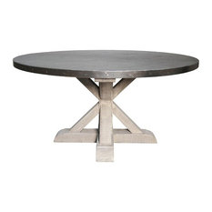 Beau Noir   Noir Zinc Top Round Table With Wooden X Base   Dining Tables