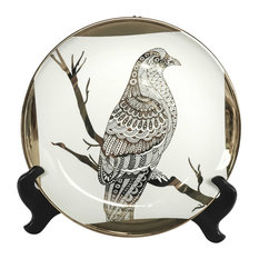 Ceramic Plate With Stand, Hawk White/Gold