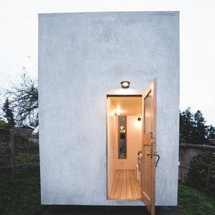 Ejemplo de fachada gris, actual, pequeña, de una planta, con revestimiento de hormigón y tejado plano