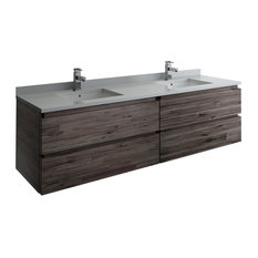"Fresca Formosa 72"" Wall Hung Double Sink Bathroom Cabinet"