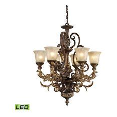 Victorian 6 Light Chandelier in Burnt Bronze Finish