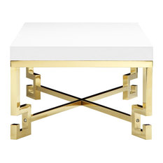 Sophia Side Table, White Lacquer and Gold