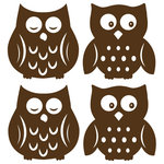 """WallPops - Owl Espresso Silhouettes Wall Decal - Sleepy owls and wide awake owls are super cute for your child's walls. Make a nursery extra special with these brown silhouette owldecals. Soothe bedtime fears and encourage imagination with these friendly owl wall decals. This WallPop Comes on four 13"""" x 13"""" Sheets and contains 4 Pieces Total. WallPops are repositionable and always removable."""