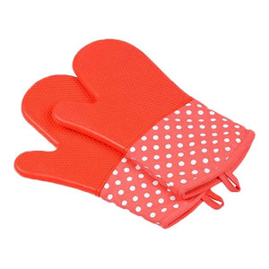 Silicon E and Cotton Oven Gloves Oven Mitts Pink, 2-Piece Set