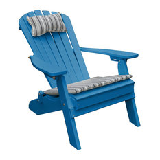 Outdoor Poly Lumber Folding and Reclining Adirondack Chair, Blue
