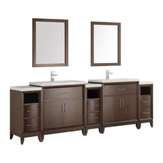 "Cambridge 96"" Antique Coffee Double Sink Bathroom Vanity and Mirrors"
