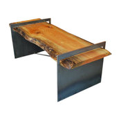 Live Edge Bench With Hot Rolled Steel Plate Legs, Cedar