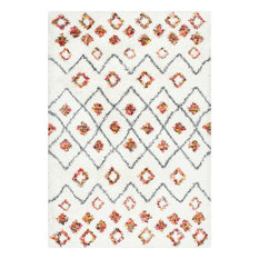 "Moroccan Trellis Diamond Expo Shag Area Rug, White, 5'3""x7'6"""