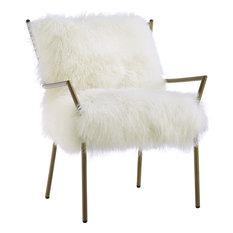 Lena Sheepskin Chair - White, Gold