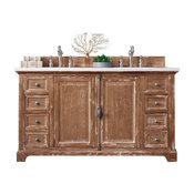 """Providence 60"""" Double Vanity, Driftwood, 2cm Carrara White Marble Top"""